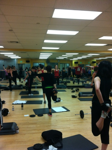 Teaching BODYPUMP 84 debut at 24 Hour Fitness Daly City.