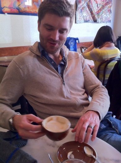 Dave enjoying his frothy cup of caffeine.