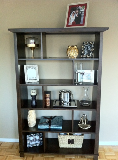 Presenting, my first draft of decorating new shelves.