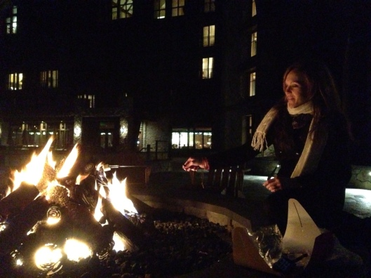 Bundled up at The Ritz firepit for s'mores.