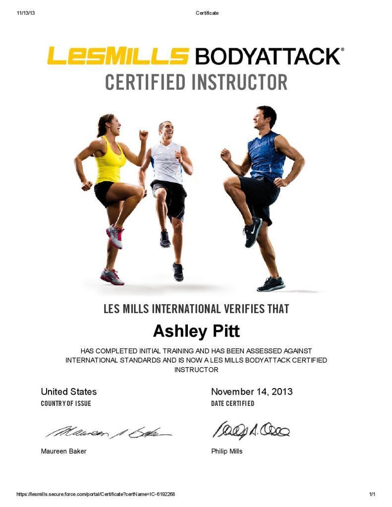 BODYATTACK Certificate